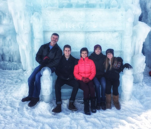 Lori and friends in an ice castle
